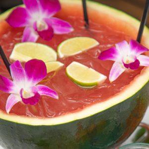 Diamond Head Margarita Bowl served in a half watermelon.